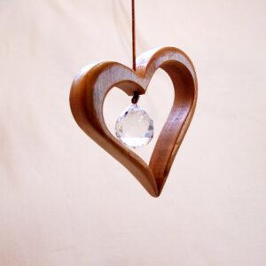 Holz Herz mit Kristall Groß