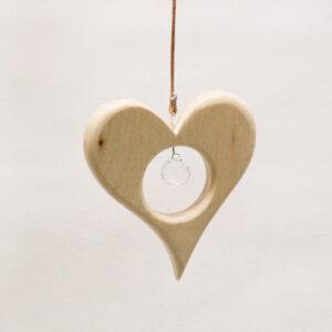 Holz Herz mit Kristall Klein